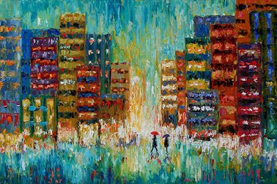 "Palette Knife Cityscape, Rainy Day City Scene Oil Painting,Umbrellas ""Black Coats"" by Texas Artist Debra Hurd"