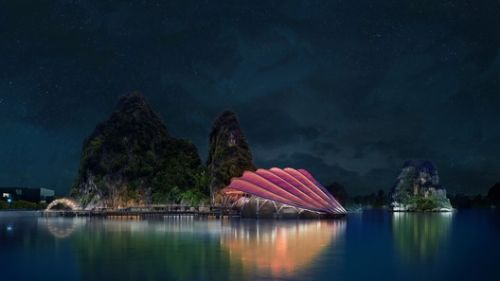 Dragons, Rocks, and Sails Inspire Sceno Light's Floating Theater in Vietnam's Ha Long Bay