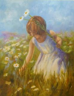 Gathering Daisies Oil Painting Figure Flowers Landscape Art