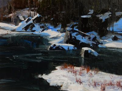 """Quiet Cold"" Wenatchee River oil painting by Robin Weiss"