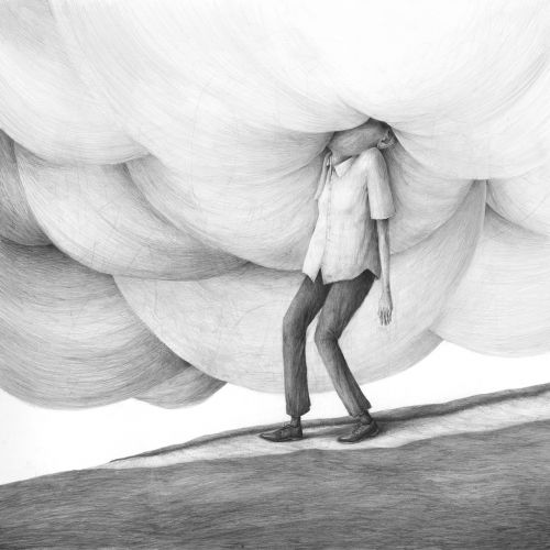 Intense Emotions Overwhelm the Figures in Stefan Zsaitsits's Graphite Illustrations