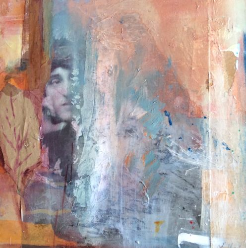 """Abstract Mixed Media,Collage Art Painting, Face """"End of Summer"""" by Intuitive Artist Joan Fullerton"""