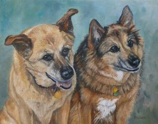 Zoey and Callie Oil Dog Painting Pet Art Animal Commission Portrait