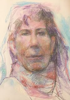 "PURPLE MODEL - 14"" x 11"" pastel life drawing by Susan Roden"
