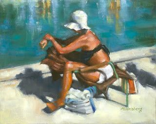 "Figurative Painting,Woman on Beach ""Sunbathing in the Tuileries"" by Illinois Artist Marilyn Weisberg"