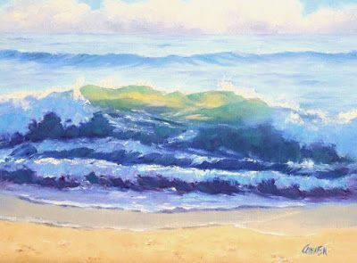 Shore Scene, Original Oil Painting 10x8 Seascape on Canvas Panel Beach Scene