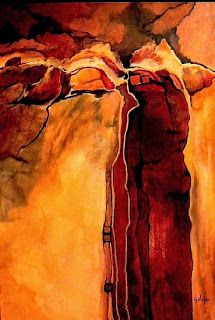 """Geological Abstract Art Painting """"Sacred Ground"""" by Colorado Mixed Media Artist Carol Nelson"""