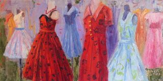 Red Dress Day, New Contemporary Painting by Sheri Jones