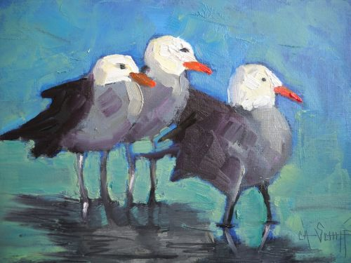 Seagull Painting, Bird Art, Daily Painting, Small Oil Painting, 6x8