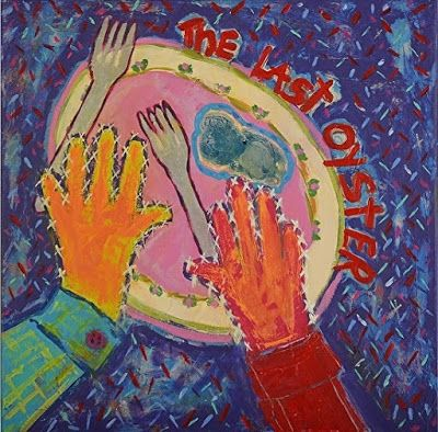 "Contemporary Still Life Narrative Art Painting,Hands,Plate,Food ""The Last Oyster"" Narrative Art by Santa Fe Artist Judi Goolsby"