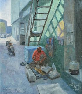 A shoemaker painting in oil 13'' by 15''