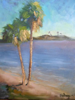 Tropical Landscape Painting, Daily Painting, Small Oil Painting, 11x14