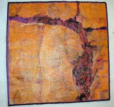 "Mixed Media, Contemporary Fiber Art ""SACRED CANYON"" by Contemporary Artist Gerri Calpin"