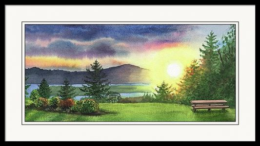 Watercolor Sunset - Landscape Painting Of Columbia River Gorge