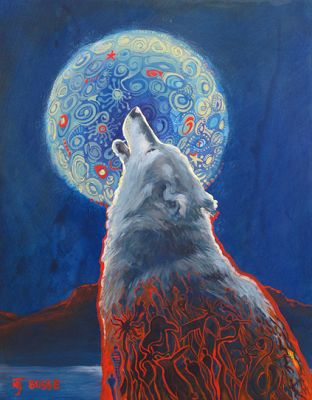 """Wolf, Wolf Painting, Wildlife Painting """"Why We Howl"""" by Colorado Artist Nancee Jean Busse, Painter of the American West"""