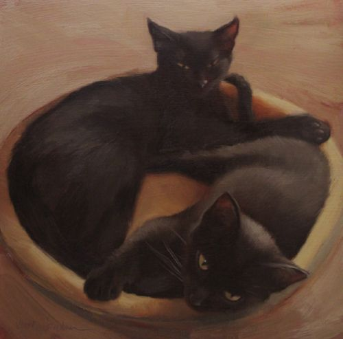 Two of a Kind, two black sibling kittehs