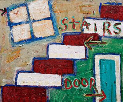 "Abstract , Folk Art, Narrative Art Painting ""Under the Stairs"
