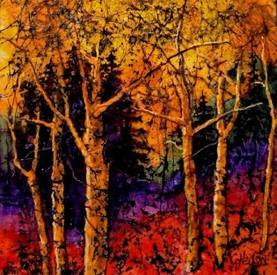 "Abstract, Mixed Media Landscape, ""TECHNICOLOR TREES"" by Colorado Mixed Media Abstract Artist Carol Nelson"