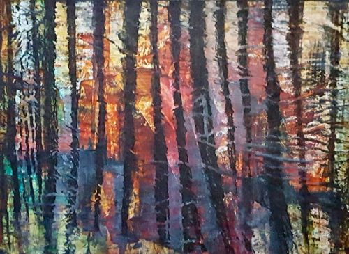 "Abstract Landscape, Mixed Media, Contemporary Abstract Art ""Aspens at Sunset"" by Contemporary Artist Gerri Calpin"