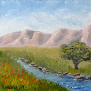 Mark Webster - Mountain Oak Tree by the Creek in Spring Oil Painting 6x6