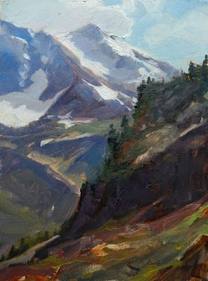 """""""Shuksan View"""" Mount Baker, plein air , oil painting by Robin Weiss"""