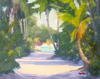 Florida Road, Original Oil on Canvas Panel Tropical Landscape Painting