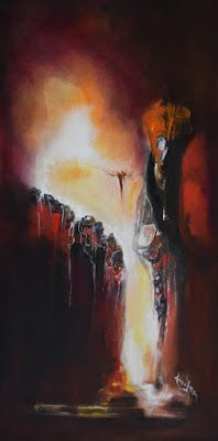 "Abstract Landscape Painting, Contemporary Art ""Marked For Favor"" by International Abstract Artist Arrachme"