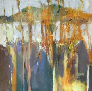 """Abstract Landscape, Botanical Painting """"Winter Garden"""" by Intuitive Artist Joan Fullerton"""