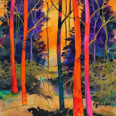 """Forest Wonders 4"" Mixed Media Tree Abstract by Carol Nelson Fine Art"