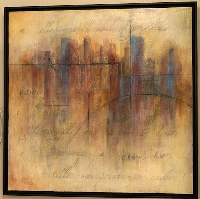 """Expressionism, Contemporary Painting, Framed Canvas Art """"Cityscape"""" by Texas Contemporary Artist Sharon Whisnand"""