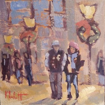 City Sidewalks at Christmas Daily Oil Painting Art Giveaway