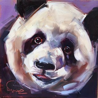 ORIGINAL CONTEMPORARY PANDA BEAR Painting on Panel in OILS by OLGA WAGNER