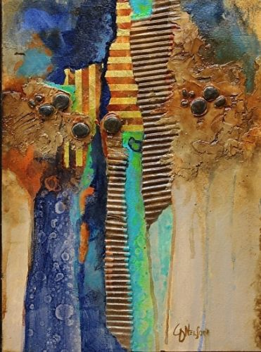 "Mixed Media Abstract Art Painting ""Washboard"" by Carol Nelson Fine Art"