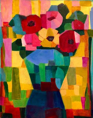 "Contemporary Expressionist Still Life Art,Bold Expressive Painting ""Fiesta Bouquet"" by Santa Fe Artist Annie O'Brien Gonzales"