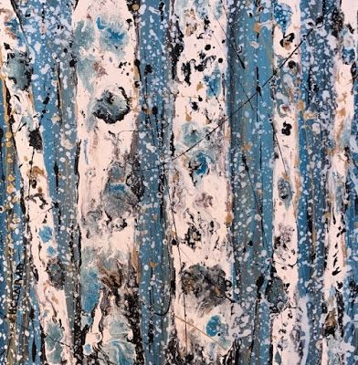 "Aspen Tree Painting,Abstract Landscape,Birch Trees ""Winter Flurries-Winter Aspens 2017 Series"" by Colorado Contemporary Landscape Artist Kimberly Conrad"