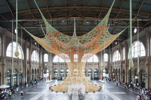 A 65-Foot Hand-Crocheted Tree Gives Visitors to Zurich's Train Station a Full Sensory Experience