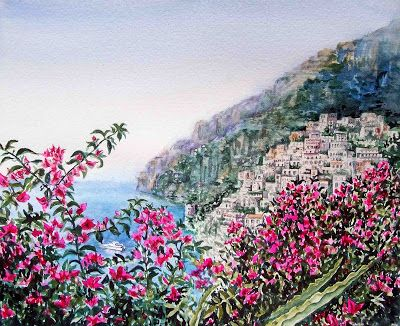 Painting Of Positano - Italy - Amalfi Coast