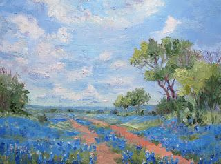 Field of Blue, New Contemporary Landscape Painting by Sheri Jones