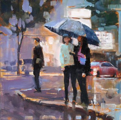 """Rain Buddies"" Seattle city, oil painting by Robin Weiss"
