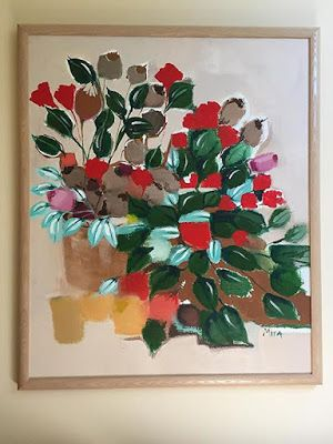 """Contemporary Abstract Flower Art Painting, Original Art, """"Cascading Green Leaves"""" by Illinois Artist Marilyn Weisberg"""