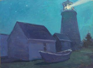 Lighthouse and dory Nocturne