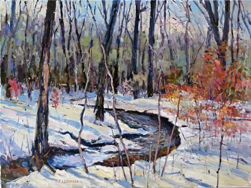 Winter's Woodland Stream 18in. x 24in. Oil / Stretched Canvas