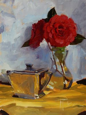 """Camellias with Sugar Bowl"" Still life, oil painting by Robin Weiss"