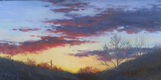 'Winter Sunset' An Original Oil Painting by Claire Beadon Carnell