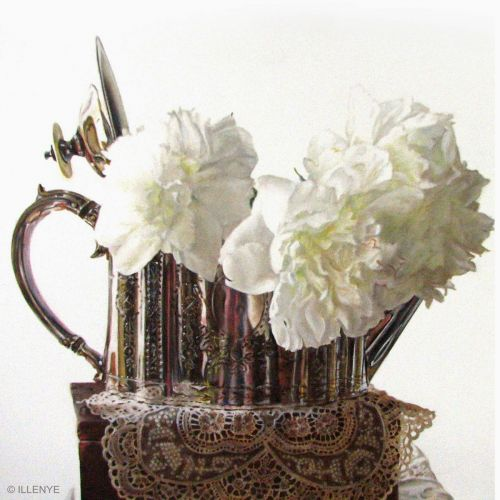 White peonies in Edwardian silver teapot on antique lace still life oil painting shade of white