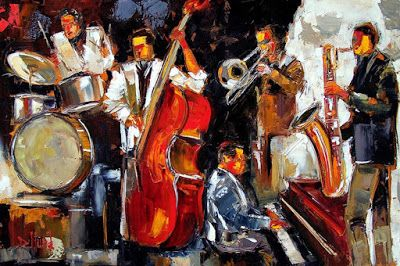 Abstract Jazz Painting Music Paintings Instruments