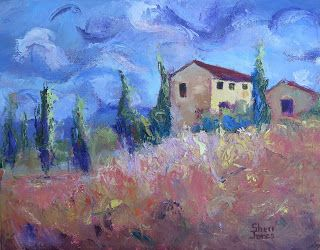 Dancing Cypress Trees, New Contemporary Landscape Painting by Sheri Jones