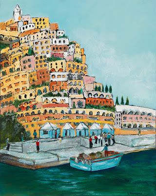 "Amalfi Coast, Italian Coastal Landscape, ""Let's Take The Yacht"" by Portland Contemporary Artist Liz Thoresen"