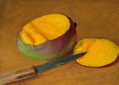 Mango painting fruit original still life oil painting a day