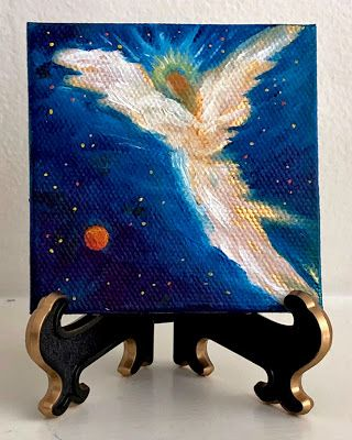 HEAVENLY ANGEL~ Original Miniature Angel Oil Painting by Marina Petro